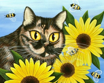 Tortiseshell Cat Painting Sunflower Cat Art Tortie Cat Bees Pet Portrait Colorful Cat Art ACEO / ATC Mini Print Cat Lover Gift