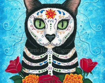 Day of the Dead Cat Art Mexican Sugar Skull Cat Gothic Cat Painting All Souls Day Fantasy Cat Art Print 5x7 Cat Lovers Art