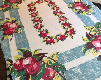Vintage Table Linen - Vibrant Red and Pink Apples with Aqua Blue Border - So Retro Cotton Tablecloth