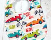 Baby Boy Bib & Burp Set  - Chenille Triple Layer Design  - Racing, Cars, Racetrack - VROOM RACE CARS