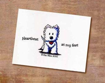 KiniArt Westie Terrier Heartbeat Signed Postcard Print