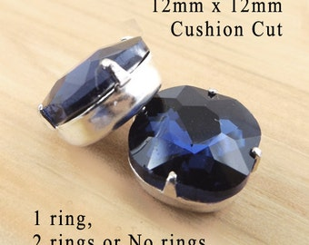 Navy Blue Glass Beads, Montana Sapphire, Cushion Cut Octagon, Silver Plated Brass Settings, 12mm x 12mm, Glass Gems, Cabochon, One Pair