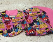 Super Heros Wonder Woman Batgirl Supergirl Infant Baby Bib and Baby Burp Cloth- set of 2- gift set