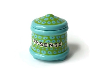 ARSENIC Trinket Jar with Feet  - Turquoise Green Purple