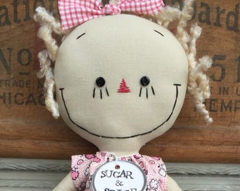 handmade cloth doll blond Gracie in pink