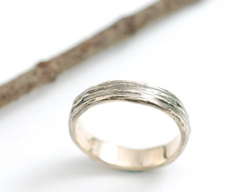 Tree Bark Wedding Ring - 14k Yellow Gold Bark Texture Wedding Band - 4mm - made to order in recycled metal