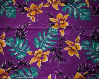 Vintage Purple Hawaiian Print Tropical Fabric Retro Hawaiian Fabric Cotton Sewing Quilting Vintage Fabric Yardage Black White Yellow Green