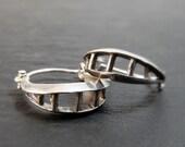 Hoop Earrings - Split Sterling Silver Hoops with Bars - Handmade in Seattle