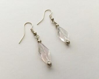 Earrings Light Pink Bead Silver Tone Earwire Hook E203