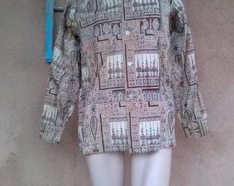 Vintage 1960s Mens Shirt Ethnic Hippie Poet Shirt Mens 40 42 Medium
