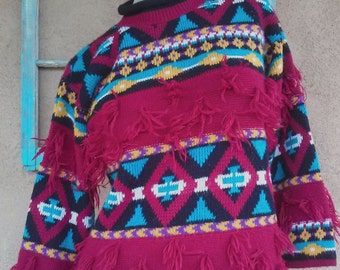 Vintage 1980s Sweater Tribal Zia Knit Medium Up to US 10 2015493