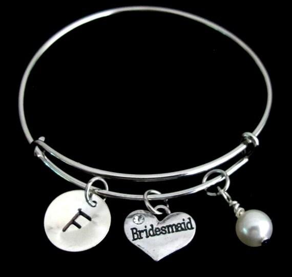 Personalized Bridesmaid Bracelet, Bridesmaid Bangle,bridesmaid jewelry,initial bracelet,Birthstone bracelet,silver bangle Free Shipping USA