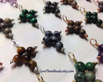 gemstone cross pendants, wire wrapped, sterling silver, brass, copper, gold color, hand made beaded pendants by LoveThemBeads