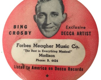 Vintage Bing Crosby Record Brush, Decca Records Advertising, LP Cleaner, Audiophile Collectible duster, Music Store Memorabilia