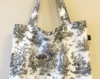 Tote School Bag | Knitting Bag | Canvas Tote Bag | Black White
