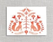 Folklore Fox Holiday Card Printable Digital Download