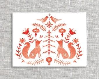 Folklore Fox Holiday Card Printable Digital Download