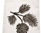 INDEPENDENCE SALE NEW organic block print pinecone towel