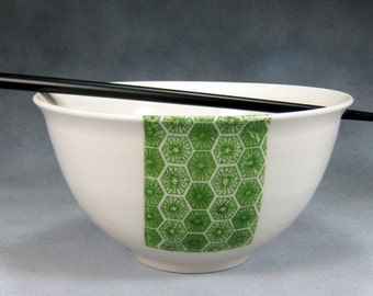 Green and White Noodle Bowl, Rice Bowl, Soup Bowl, Pho Bowl, Stir Fry Bowl Hand Thrown Translucent Porcelain Pottery  50