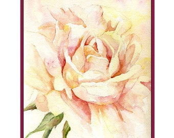 Watercolor Muted Rose Note Cards Notecards, Rose Print, Rose Stationery, Roses, Rose Art, Boxed Set, 6 or 8 Cards, Stocking Stuffers