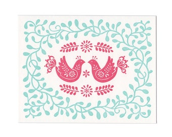 Red Birds letterpress holiday greeting card - blank inside, single card