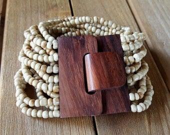 Bohemian style natural wood clasp glass bead multi strand bracelet gypsy stack wide stretch elastic boho accessory bohemian jewelry