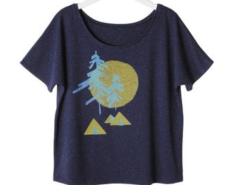 Backcountry Camping Tee, Graphic Shirt for Women, Loose Fitting in a Speckle Fabric