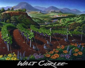Quail Art, Red Grape Vineyard, California Wine Country Landscape Giclee Print, Winery, Napa Valley, Sonoma Valley, Folk Art, Tuscany, Tuscan