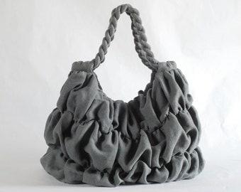 Grey linen ruffled bag, linen handbag, grey purse