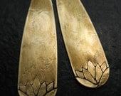 Lotus Stamped Antiqued Brass Long Teardrop Charms - 1 pair