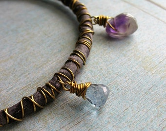 Amethyst, Pearl, Moonstone, Iolite and Violet Copper Charms on Grey Violet Sari Silk Wrapped Bangle