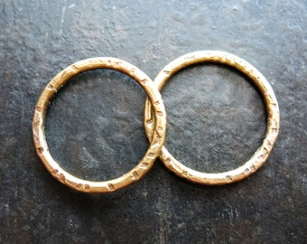 Hammered Antiqued Brass Circle Links - 1 pair - 18mm