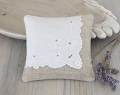 Lavender Sachet with Embroidered Linen Hankie, Romantic Home Decor