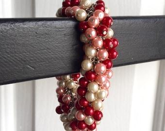 Strawberries N' Cream Pearl Beaded Charm Bracelet