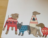 Dogs in jumpers Christmas card