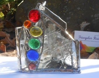 Clear Textured Glass Candle Holder w/ Rainbow Colored Glass Gems Stained Glass leadfree Paranoia altar office home dorm studio chakra decor