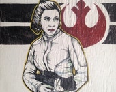 Princess Leia Rebel Fighter  - Star Wars inspired Rebel Alliance painting - black white red