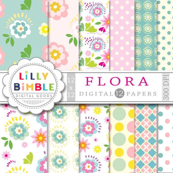 80% off Floral digital paper, FLORA, instant download, commercial use, scrapbook, flowers, modern, pastel