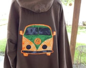 Mens Upcycled Zip Up Earthy Brown Hoodie VW Bus OOAK Size 2XL Hippie clothes, hoodie, recycled hoodie, zip up hoodie, guys hoodie,volkswagen