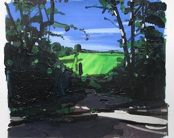 Gateway, Original Summer Landscape Collage Painting on Paper, Stooshinoff