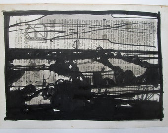 Original India Ink Landscape Drawing on Antique Book Paper, Chance 2, Stooshinoff