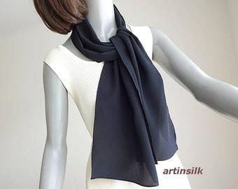 Silk Scarf for Men, Long Black Scarf, Black Silk Crepe, Unisex Scarf, Silk Belt Sash, Crepe Silk 16mm, Pure Mulberry Silk, Artisan Made