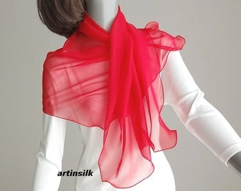 """Red Chiffon Scarf Sheer Small Coverup, Neck Scarf for Girl, Valentine Gift, Shoulder Wrap, Fire Engine Chinese Red S SX M 16x42"""", Artinsilk."""