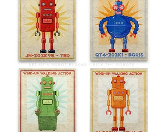 "Robot Nursery Decor Boy- Kid Decor- Retro Robot Art Series Block- 4 Print Set 8""x10"" Art for Boys Room- Robot Nursery Art- Kid Bedroom"