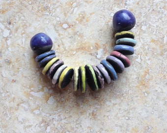 RESERVED for Jackie,kiln fired clay beads, raku, rondelles