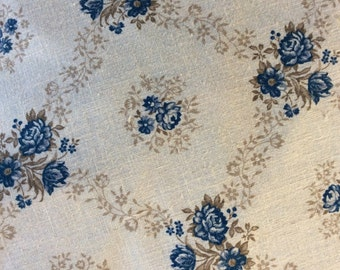 Nineties fabric blue roses/Harvest Home Springs Industries