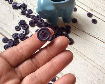 Purple Eggplant Buttons set of 25/Vintage Seventies Buttons