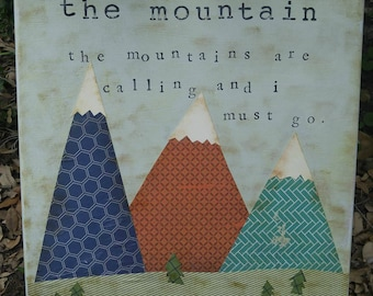 The Mountain Woodland Nursery Art Decor Camping Rustic Painting Folk Custom Girl Boy Children's Room Wall Navy Orange Green John Muir Quote