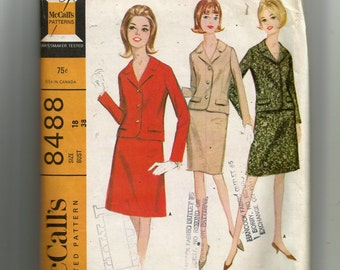McCall's Misses' and Junior Suit With Slim or Full Skirt Pattern 8488
