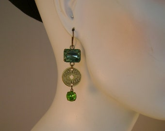"One Fare - Vintage ""Good for One Fare"" Transit Tokens, Blue and Green Faceted Beads Recycled Repurposed Assemblage Earrings"